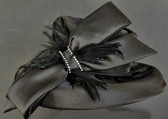 Lovely Down Brimmed Black Cloche Ladies Hat With Matching Feather Spray.