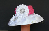 Pink Crowned White Base, Large Floral