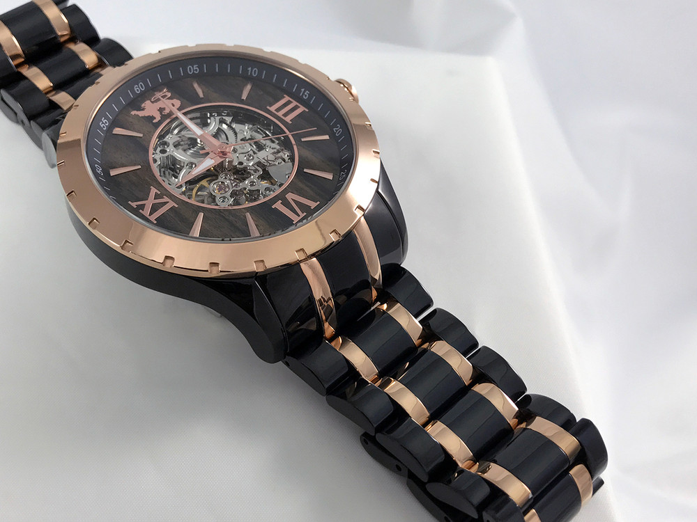 "9"" Long Bracelet is Black and Rose Gold Ionic Plated Stainless Steel.  Real Wood Face makes this watch as unique as it is beautiful.  Named after the year Banneker completed construction of first clock in America."