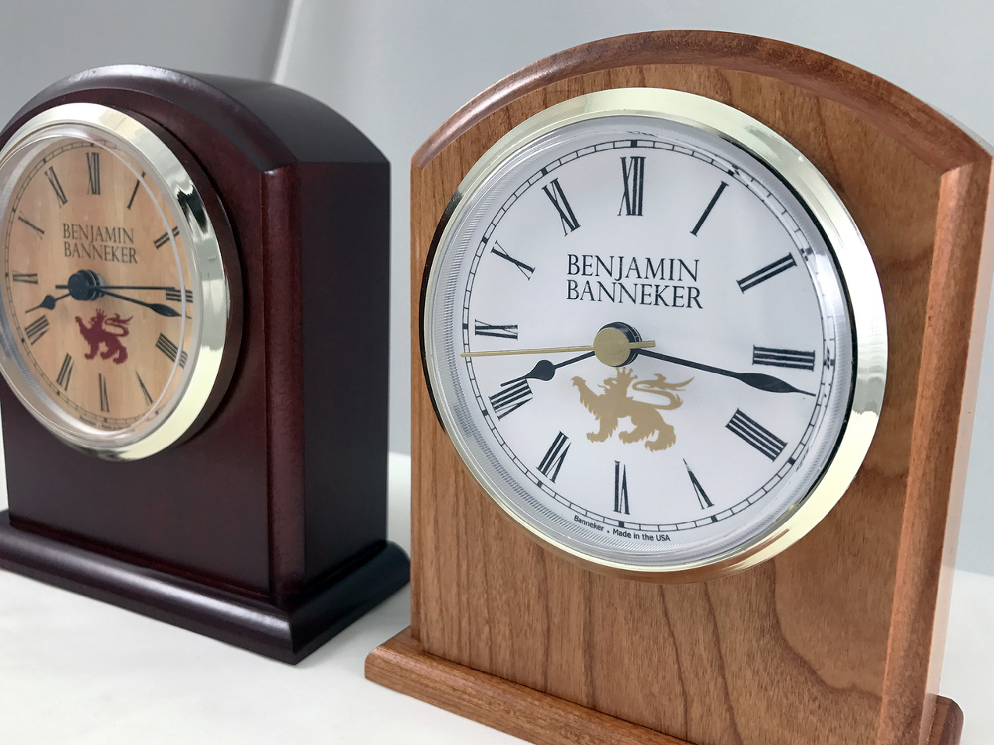 Benjamin banneker wood clock 3500 bc burgundy cherry wood the 3500 is a timeless benjamin banneker desk clock that is made in america and perfect amipublicfo Images