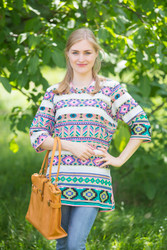 """Glam Tunics"" kaftan Top in Aztec Geometric pattern"