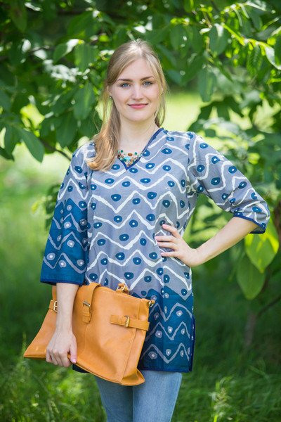 """Glam Tunics"" kaftan Top in Chevron Dots pattern"