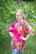 """Glam Tunics"" kaftan Top in Large Floral Blossom pattern"