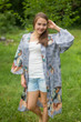 """Free Bird"" Kimono jacket in Butterfly Baby pattern"