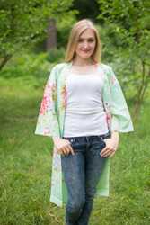 """Free Bird"" Kimono jacket in Cabbage Roses pattern"