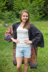 """Free Bird"" Kimono jacket in Cheerful Paisleys pattern"
