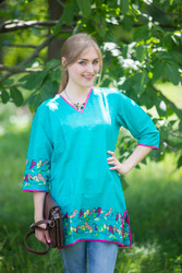 """Glam Tunics"" kaftan Top in Little Chirpies pattern"