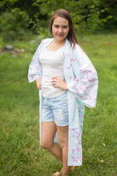 """Free Bird"" Kimono jacket in Cherry Blossoms pattern"