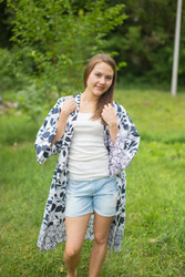 """Free Bird"" Kimono jacket in Classic White Black pattern"