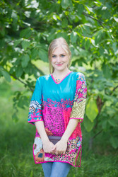 """Glam Tunics"" kaftan Top in Vibrant Foliage pattern"