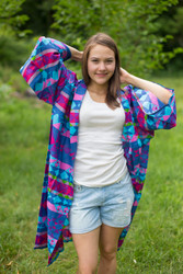 """Free Bird"" Kimono jacket in Diamond Aztec pattern"
