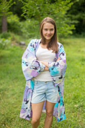 """Free Bird"" Kimono jacket in Flamingo Watercolor pattern"