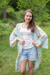 """Free Bird"" Kimono jacket in Flower Rain pattern"