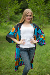 """Free Bird"" Kimono jacket in Glowing Flame pattern"