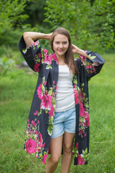 """Free Bird"" Kimono jacket in Large Fuchsia Floral Blossom pattern"