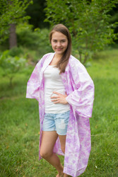 """Free Bird"" Kimono jacket in Ombre Fading Leaves pattern"