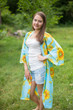 """Free Bird"" Kimono jacket in Sunflower Sweet pattern"