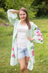 """Free Bird"" Kimono jacket in Swirly Floral Vine pattern"