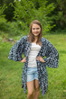 """Free Bird"" Kimono jacket in Tribal Aztec pattern"