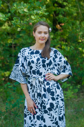 """Mademoiselle"" kaftan in Classic White Black pattern"