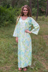 """The Unwind"" kaftan in Ombre Fading Leaves pattern"
