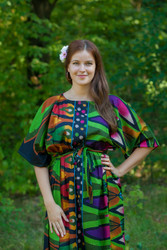 """Mademoiselle"" kaftan in Glowing Flame pattern"