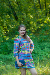 """Sun and Sand"" Beach Tunic in Diamond Aztec pattern"