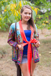 """Bow and Me"" Kimono jacket in Cheerful Paisleys pattern"