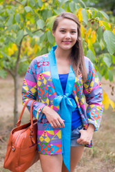 """Bow and Me"" Kimono jacket in Diamond Aztec pattern"