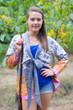 """""""Bow and Me"""" Kimono jacket in Falling Leaves pattern"""