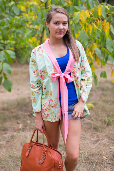 """Bow and Me"" Kimono jacket in Flower Rain pattern"