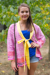 """Bow and Me"" Kimono jacket in Geometric Chevron pattern"