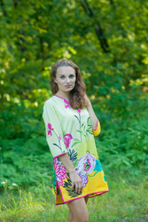 """Sun and Sand"" Beach Tunic in Jungle of Flowers pattern"