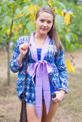 """Bow and Me"" Kimono jacket in Geometrica pattern"