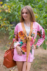 """Bow and Me"" Kimono jacket in Large Floral Blossom pattern"