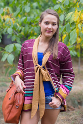"""Bow and Me"" Kimono jacket in Multicolored Stripes pattern"