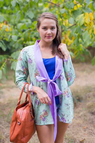 """Bow and Me"" Kimono jacket in Romantic Florals pattern"