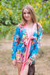 """Bow and Me"" Kimono jacket in Rosy Red Posy pattern"