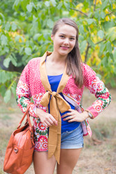 """""""Bow and Me"""" Kimono jacket in Round and Round pattern"""