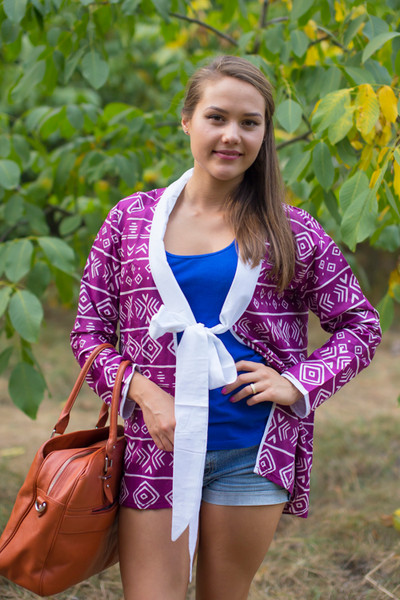 """Bow and Me"" Kimono jacket in Tribal Aztec pattern"