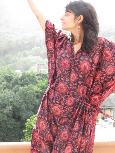 """Organic Au Naturelle"" Cinched Drawstring kaftan in Black Floral Pattern"