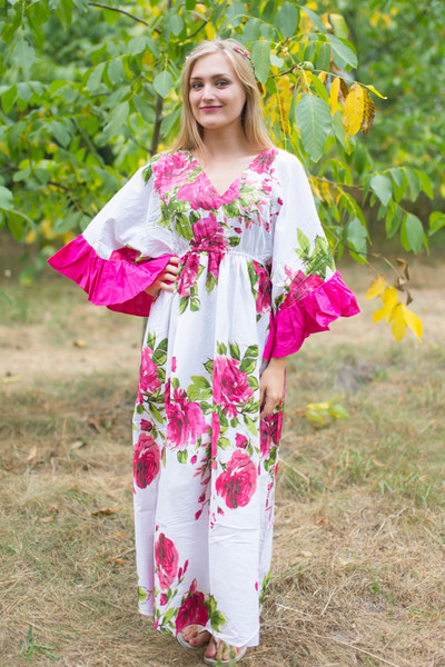 """Pretty Princess"" kaftan in Large Fuchsia Floral Blossom pattern"