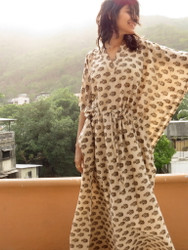"""Organic Au Naturelle"" Cinched Drawstring kaftan in Cream Leafy Pattern"