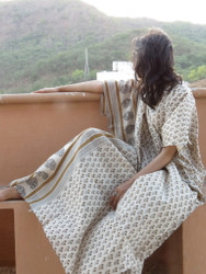 """Organic Au Naturelle"" Cinched Drawstring kaftan in Cream Mustard Paisley Border Pattern"