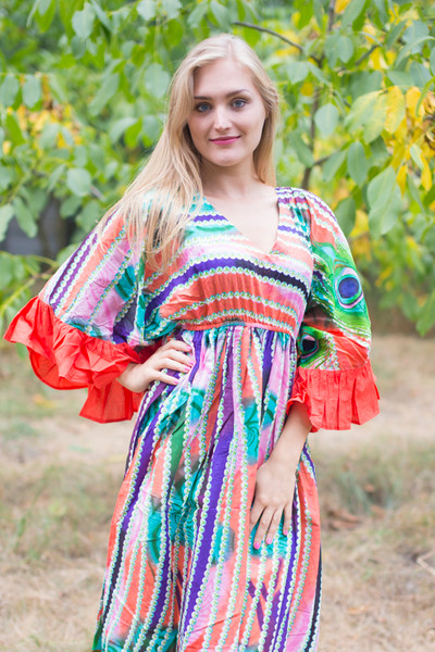 """Pretty Princess"" kaftan in Peacock Plumage pattern"