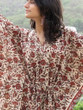 """Organic Au Naturelle"" Cinched Drawstring kaftan in Cream Red Floral Pattern"