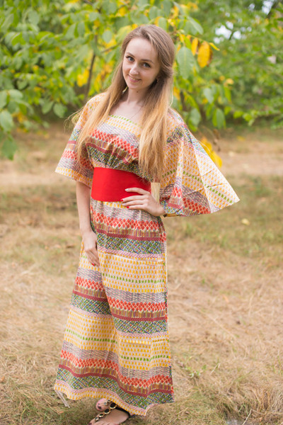 """Beauty, Belt and Beyond"" kaftan in Abstract Geometric pattern"