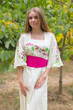"""Beauty, Belt and Beyond"" kaftan in Climbing Vines pattern"