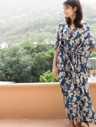 """Organic Au Naturelle"" Cinched Drawstring kaftan in Dark Blue Floral Pattern"