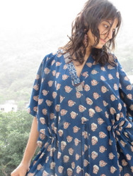 """Organic Au Naturelle"" Cinched Drawstring kaftan in Dark Blue Leafy Pattern"